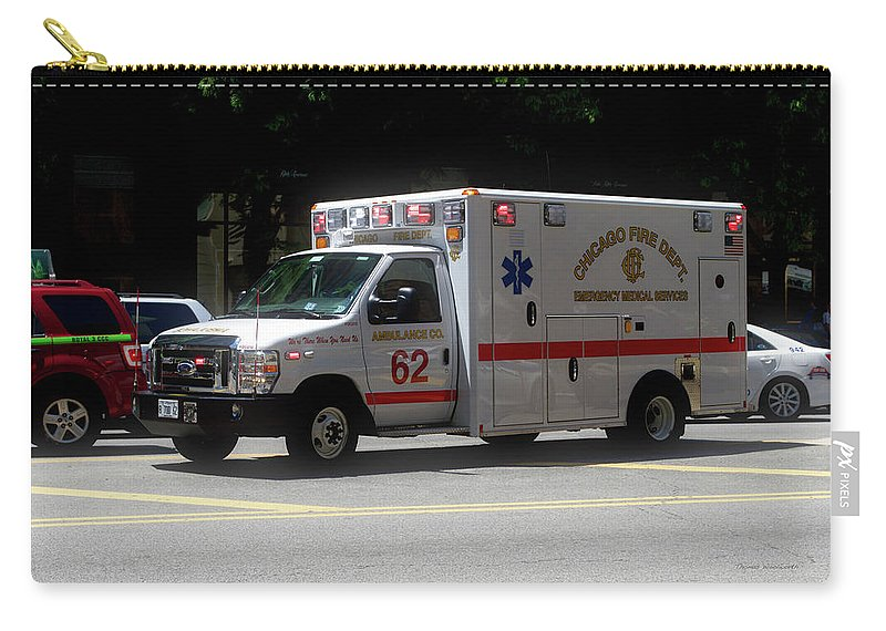 Chicago Carry-all Pouch featuring the photograph Chicago Fire Department Ems Ambulance 62 by Thomas Woolworth