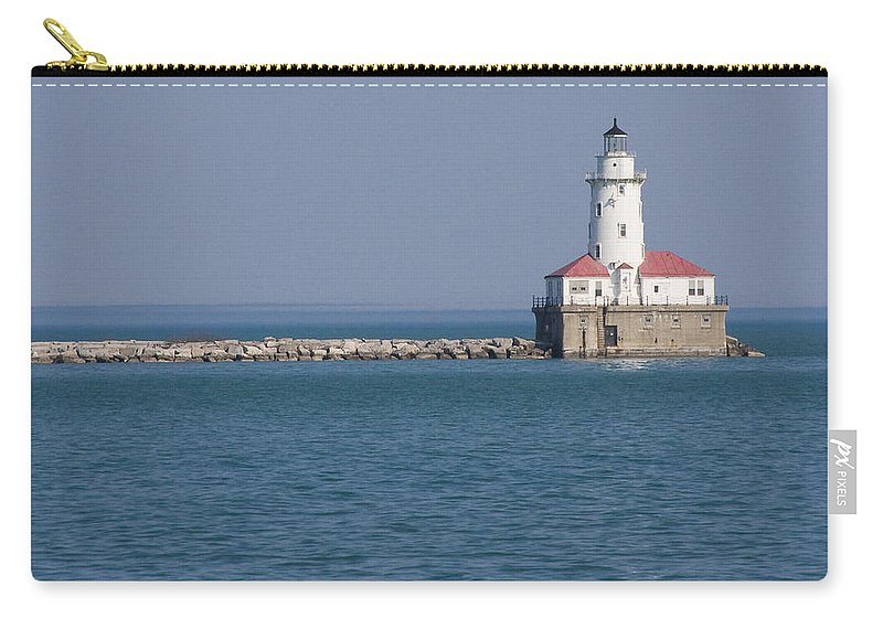 Chicago Windy City Lighthouse Light Harbor Lake Michigan Water Blue Sky Red Roof Safe Guide Carry-all Pouch featuring the photograph Chicago Harbor Lighthouse by Andrei Shliakhau