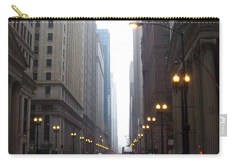 Chicago Carry-all Pouch featuring the photograph Chicago In The Rain 2 by Anita Burgermeister