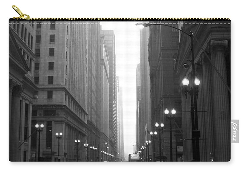Chicago Carry-all Pouch featuring the photograph Chicago In The Rain 2 B-w by Anita Burgermeister