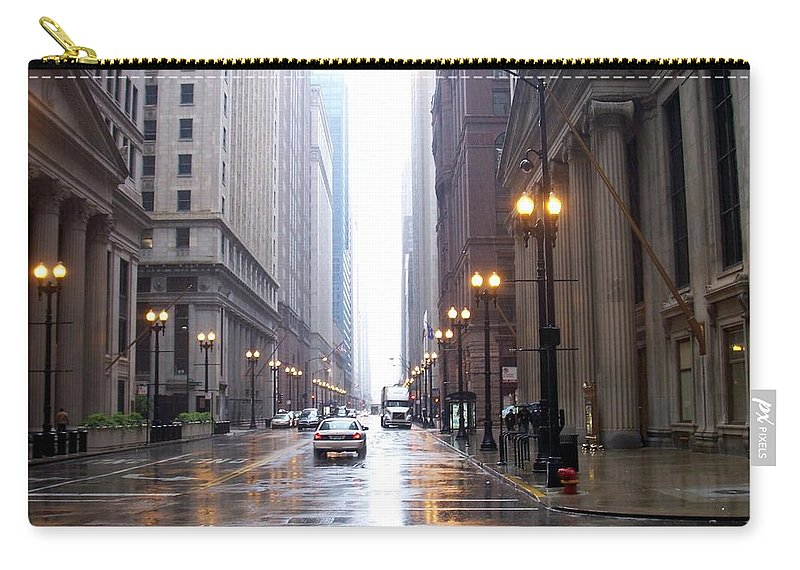 Chicago Carry-all Pouch featuring the photograph Chicago In The Rain by Anita Burgermeister