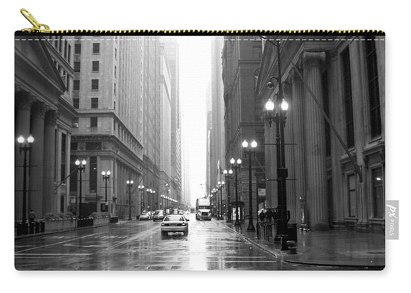 Chicago Carry-all Pouch featuring the photograph Chicago In The Rain B-w by Anita Burgermeister