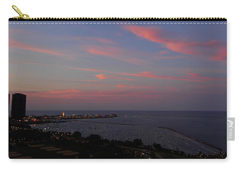 Chicago Carry-all Pouch featuring the photograph Chicago Lakefront At Sunset by Michael Bessler