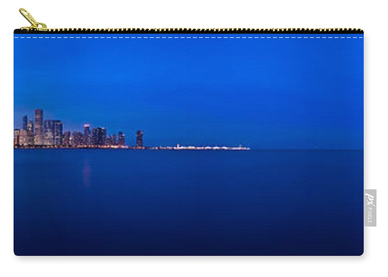 Architecture Carry-all Pouch featuring the photograph Chicago Lakefront Ultra Wide Hd by Steve Gadomski