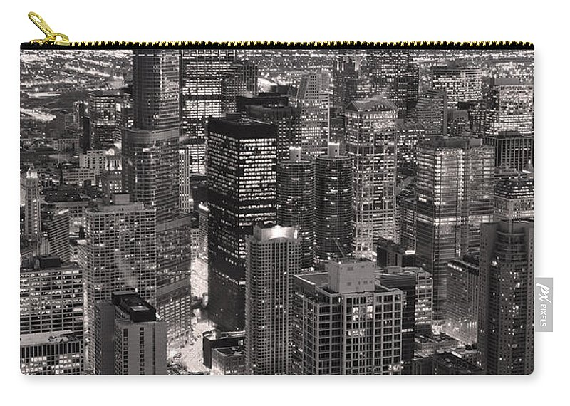 Aerial Carry-all Pouch featuring the photograph Chicago Loop Sundown B And W by Steve Gadomski