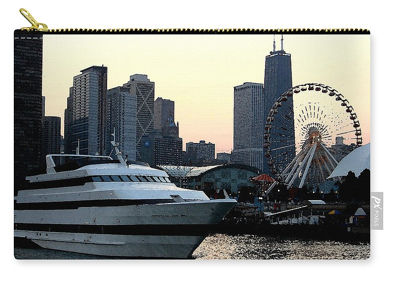Photo Carry-all Pouch featuring the photograph Chicago Navy Pier by Glory Fraulein Wolfe