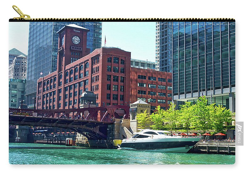 Chicago Carry-all Pouch featuring the photograph Chicago Parked By The Clark Street Bridge On The River by Thomas Woolworth
