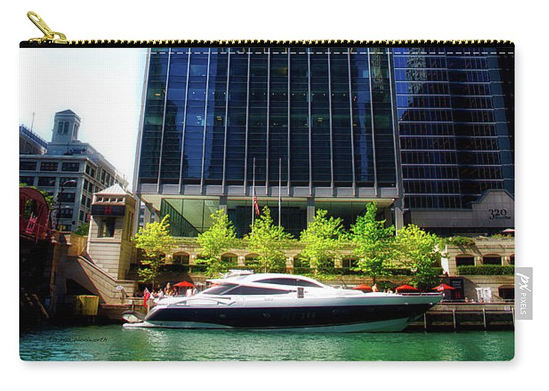 Chicago Carry-all Pouch featuring the photograph Chicago Parked On The River By 320 River Bar by Thomas Woolworth