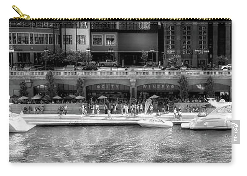 Chicago River Carry-all Pouch featuring the photograph Chicago Parked On The River Walk Panorama 02 Bw by Thomas Woolworth