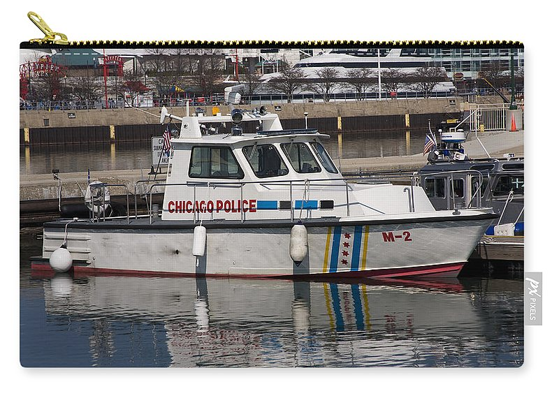 Chicago Police Windy City Water Lake Michigan Reflection Boat White Blue Carry-all Pouch featuring the photograph Chicago Police by Andrei Shliakhau