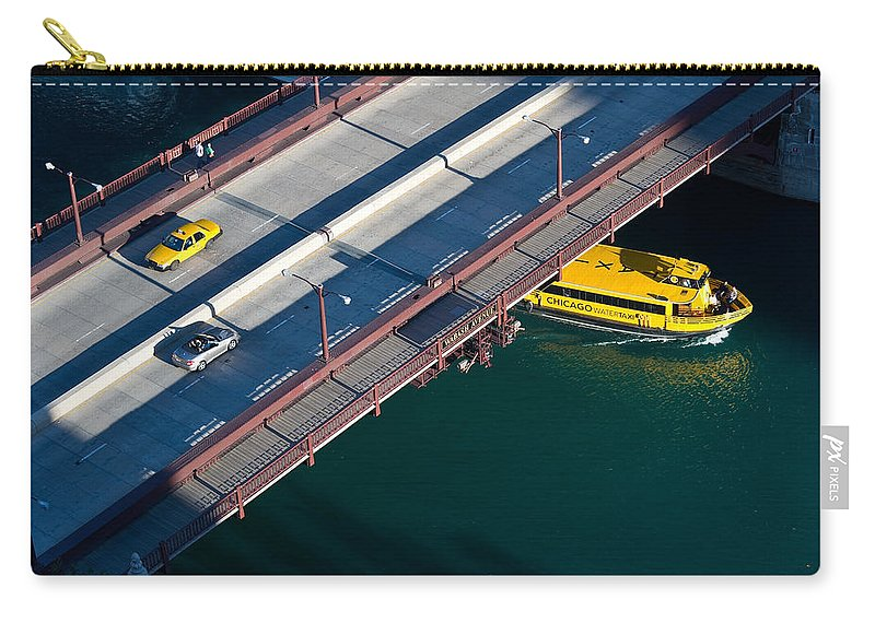 Boat Carry-all Pouch featuring the photograph Chicago River Crossing by Steve Gadomski
