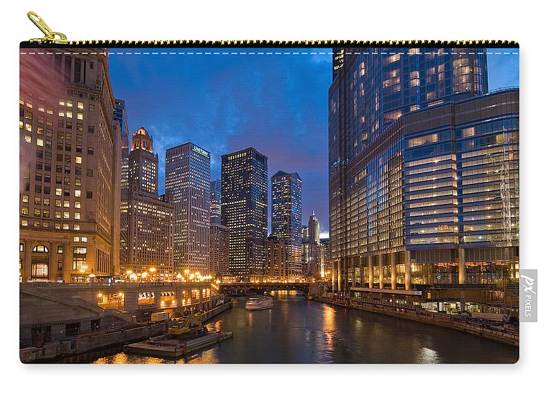 Architecture Carry-all Pouch featuring the photograph Chicago River Lights by Steve Gadomski