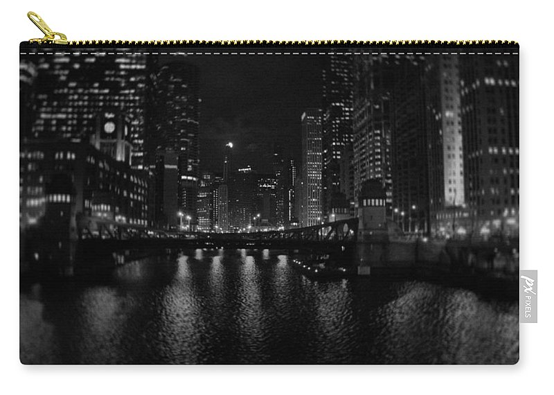 Chicago Carry-all Pouch featuring the photograph Chicago River Night Skyline by Kyle Hanson