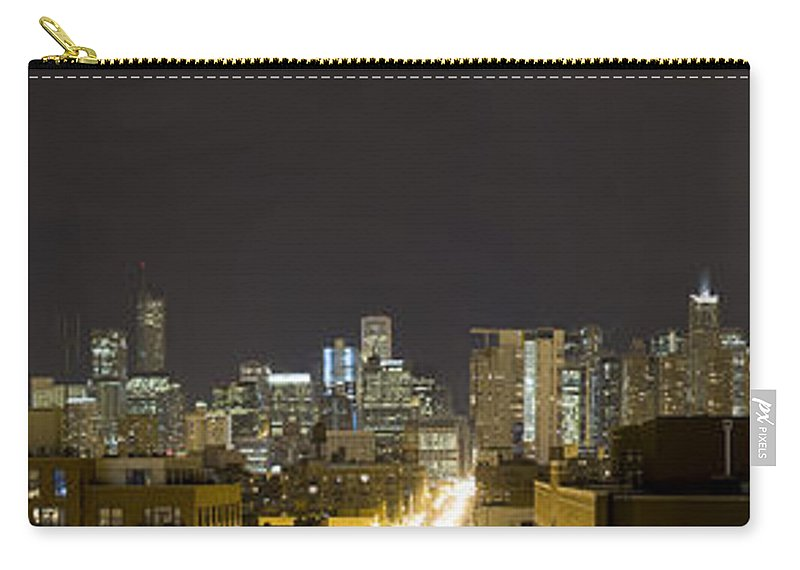 City Sky Skyline Wind Windy Windycity Il Chicago Night Dark Light Lights Street Building Tall House Carry-all Pouch featuring the photograph Chicago Skyline by Andrei Shliakhau