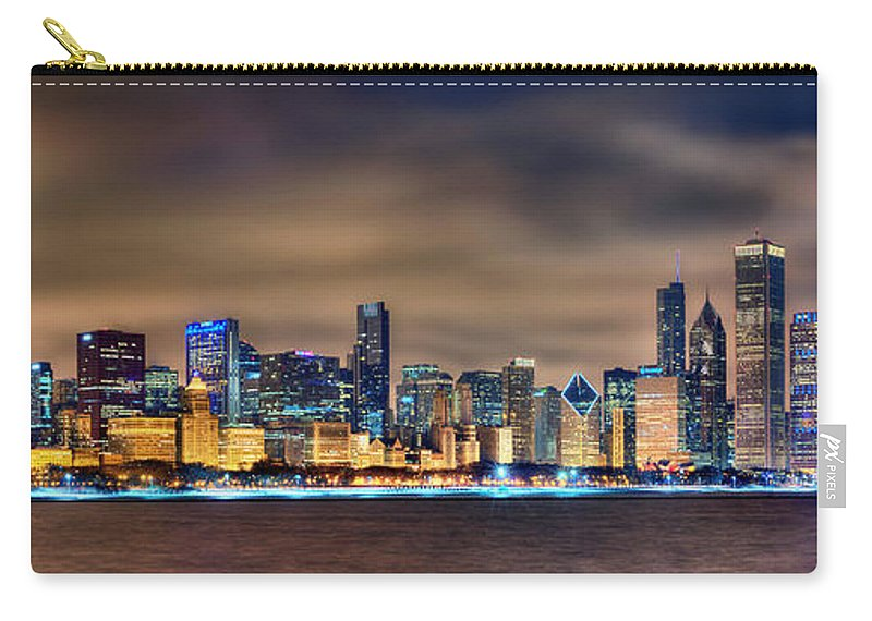 Chicago Carry-all Pouch featuring the photograph Chicago Skyline At Night Panorama Color 1 To 3 Ratio by Jon Holiday