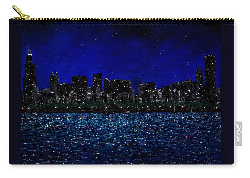 Chicago At Night Carry-all Pouch featuring the painting Chicago Skyline by Joe Michelli