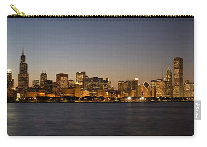 Chicago Carry-all Pouch featuring the photograph Chicago Skyline Panorama by Steve Gadomski