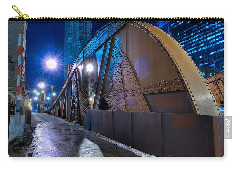 Bridge Carry-all Pouch featuring the photograph Chicago Steel Bridge by Steve Gadomski