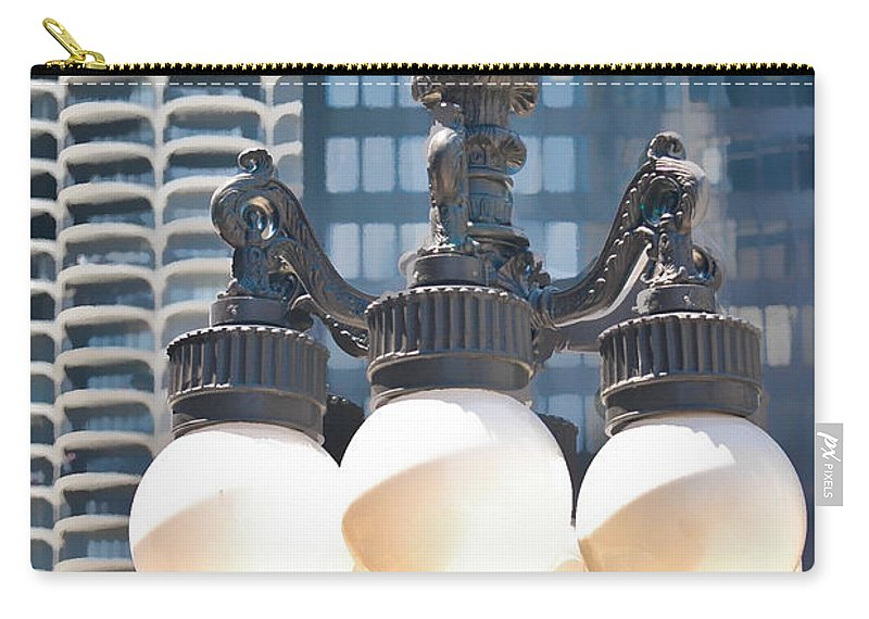Chicago Carry-all Pouch featuring the photograph Chicago Street Lamps by Ginger Wakem