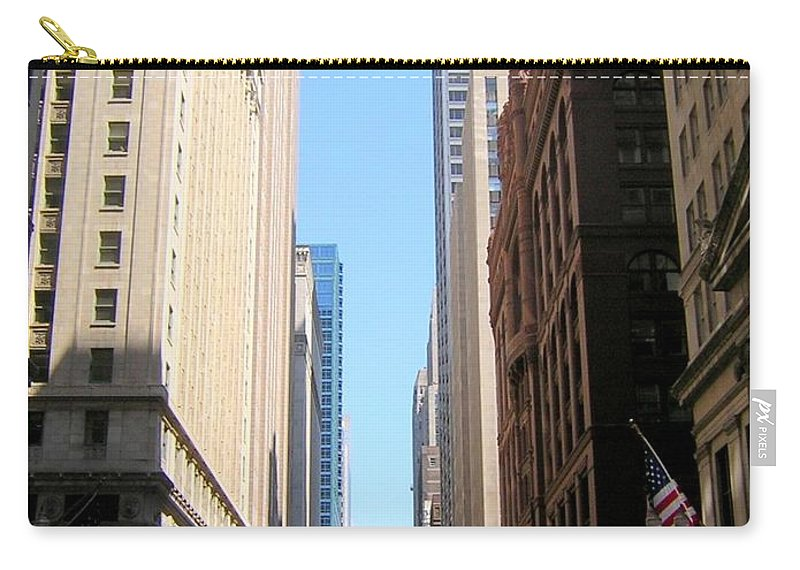 Chicago Carry-all Pouch featuring the photograph Chicago Street With Flags by Anita Burgermeister