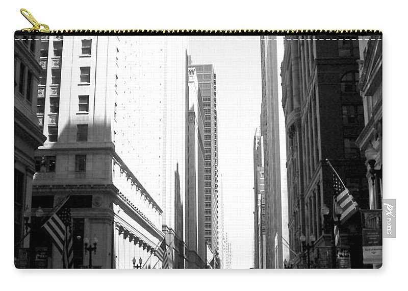 Chicago Carry-all Pouch featuring the photograph Chicago Street With Flags B-w by Anita Burgermeister