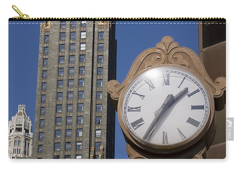 Chicago City Windy Wind Blue Sky Clock Time Building Tall High Big Gold Sun Sunny Metro Urban Carry-all Pouch featuring the photograph Chicago Time by Andrei Shliakhau