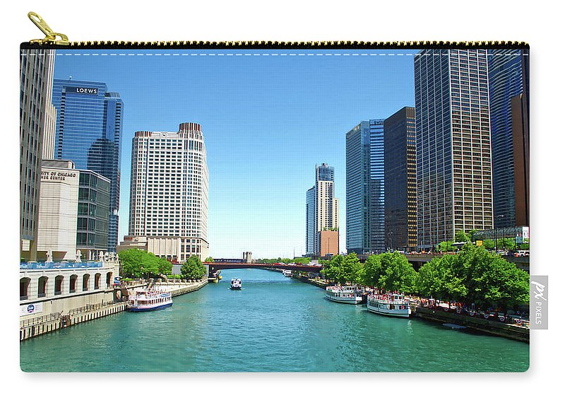 Chicago Carry-all Pouch featuring the photograph Chicago Tour Boats Parked On The River by Thomas Woolworth