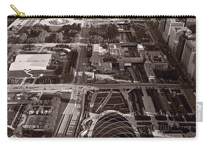 Aerial Carry-all Pouch featuring the photograph Chicagos Front Yard B W by Steve Gadomski