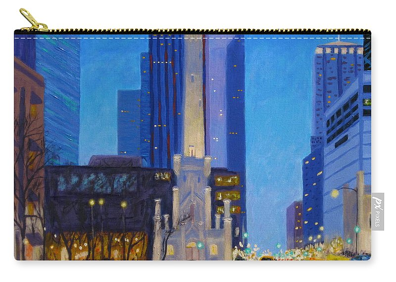 Chicago Art Carry-all Pouch featuring the painting Chicago's Water Tower At Dusk by J Loren Reedy