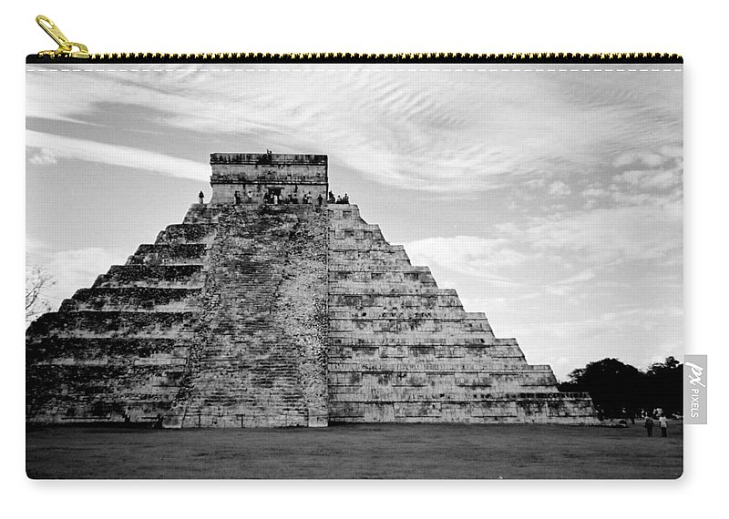 Mexico Carry-all Pouch featuring the photograph Chichen Itza B-w by Anita Burgermeister