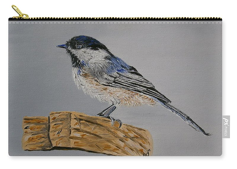 Animal Art Carry-all Pouch featuring the painting Chickadee Bird by Maria Woithofer