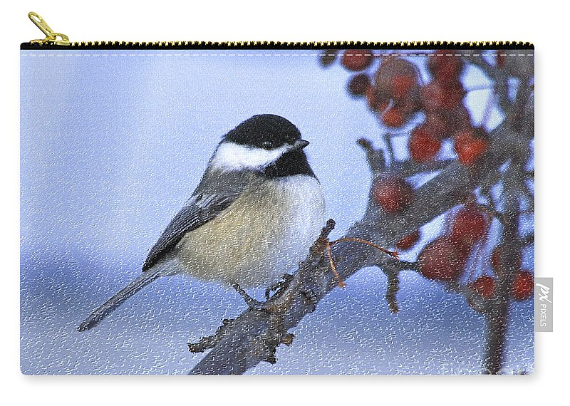 Bird Carry-all Pouch featuring the photograph Chickadee With Craquelure by Deborah Benoit