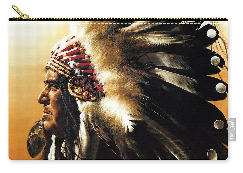Native American Carry-all Pouch featuring the painting Chief by Greg Olsen