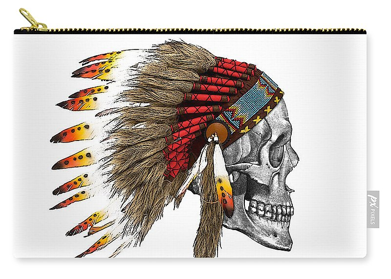 Indian Carry-all Pouch featuring the digital art Chief headdress on human skull native american art by Madame Memento