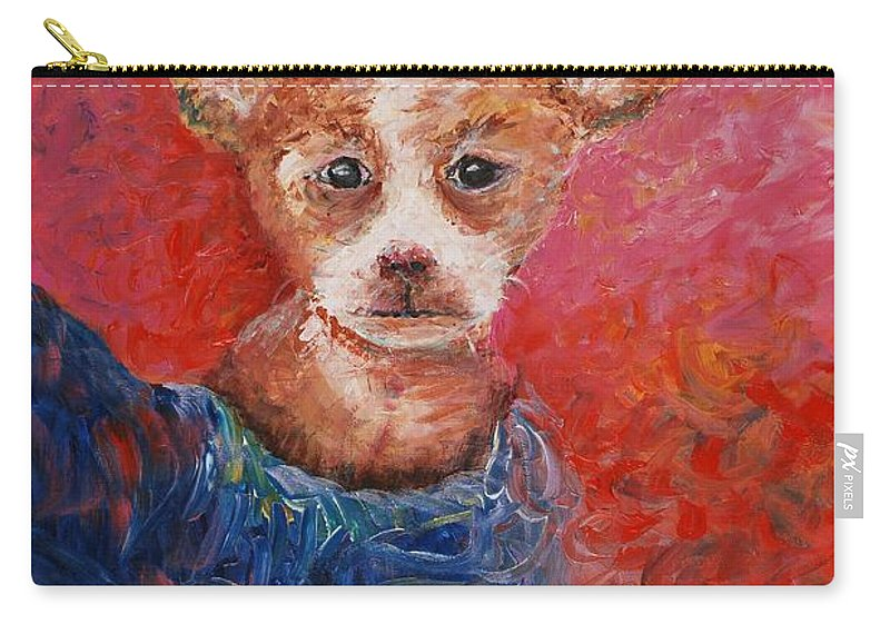 Dog Carry-all Pouch featuring the painting Chihuahua Blues by Nadine Rippelmeyer