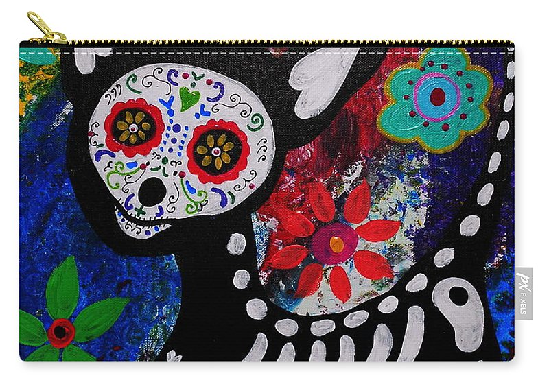 Day Of The Dead Carry-all Pouch featuring the painting Chihuahua Day Of The Dead by Pristine Cartera Turkus