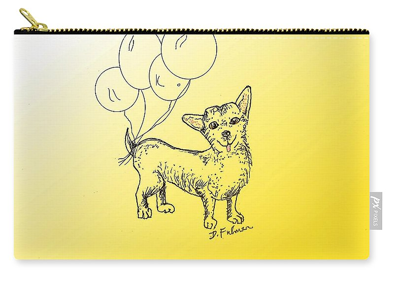 Animal Carry-all Pouch featuring the drawing Chihuahua by Denise Fulmer