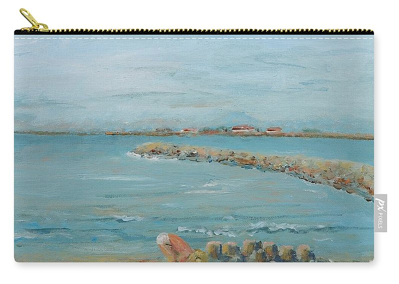 Beach Carry-all Pouch featuring the painting Child Playing At Provence Beach by Nadine Rippelmeyer