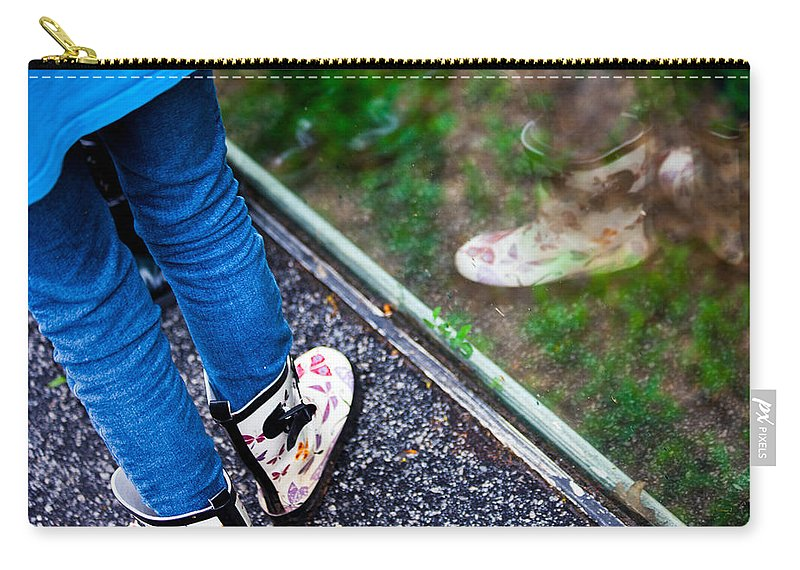 Child Reflection Carry-all Pouch featuring the photograph Child Reflection by Karol Livote