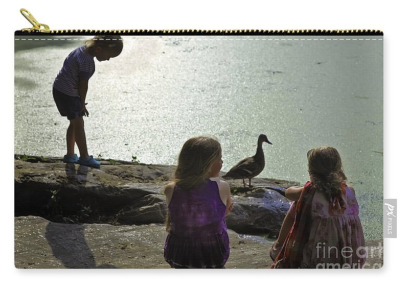 Children Carry-all Pouch featuring the photograph Children At The Pond 1 Version 2 by Madeline Ellis