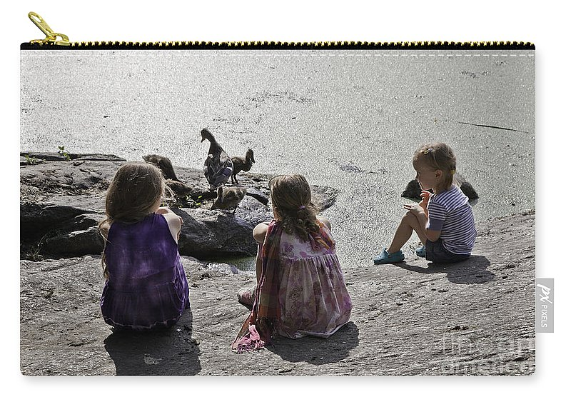 Children Carry-all Pouch featuring the photograph Children At The Pond 2 by Madeline Ellis