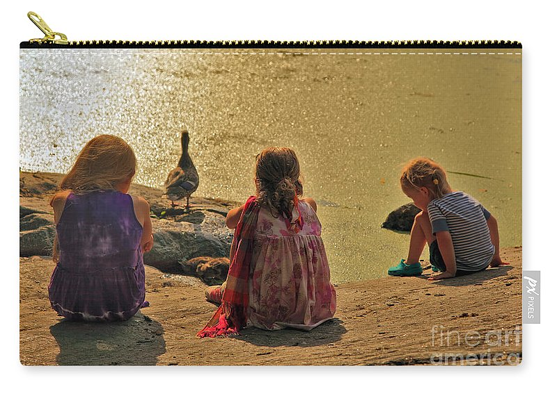 Children Carry-all Pouch featuring the photograph Children At The Pond 4 by Madeline Ellis