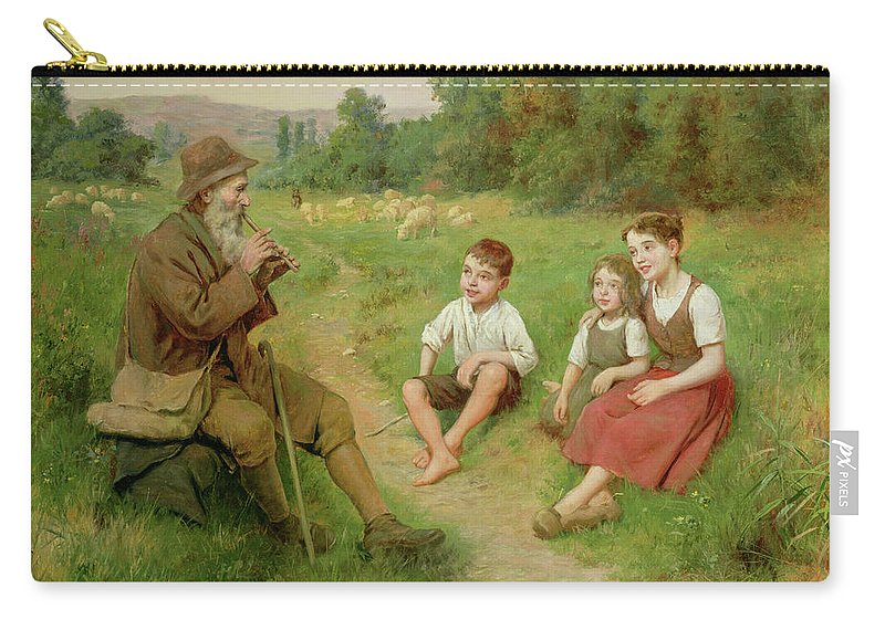 Children Listen To A Shepherd Playing A Flute (oil On Canvas) By J. Alsina (fl. 1900) Carry-all Pouch featuring the painting Children Listen To A Shepherd Playing A Flute by J Alsina
