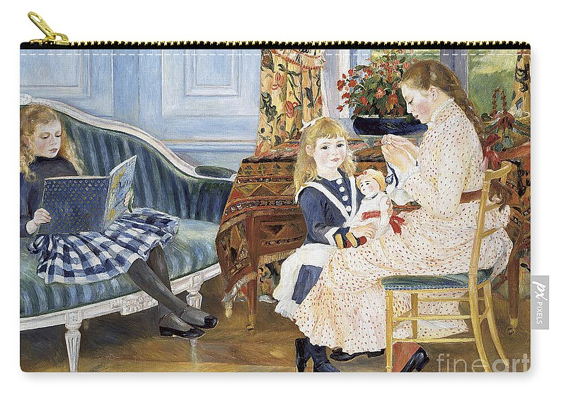 Interior; Family; Children; Child; Girl; Childhood; Female; Impressionism; Impressionist; Sewing; Reading; Playing; Tartan Skirt; Floral; Flowers; Seated; Sitting; Book; Doll; Toy Carry-all Pouch featuring the painting Children's Afternoon At Wargemont by Pierre Auguste Renoir