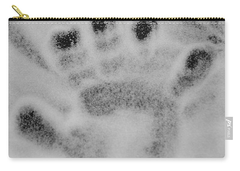 Black And White Carry-all Pouch featuring the photograph Childs Hand by Rob Hans