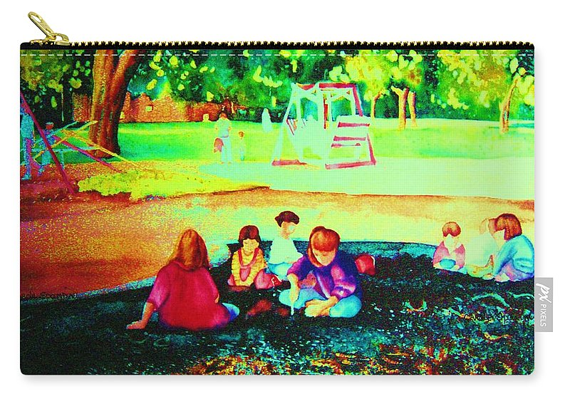 Central Park Carry-all Pouch featuring the painting Childs Play by Carole Spandau