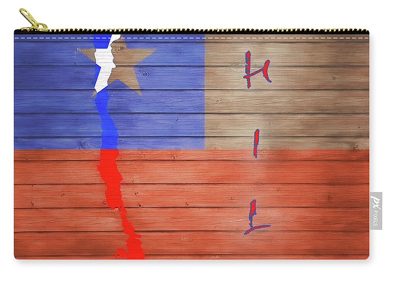 Chile Rustic Map On Wood Carry-all Pouch featuring the mixed media Chile Rustic Map On Wood by Dan Sproul