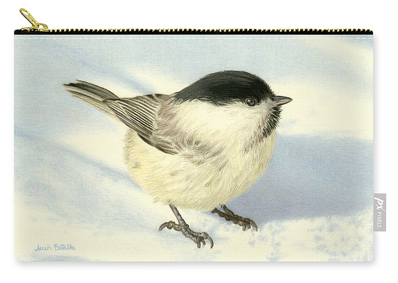 Chickadee Carry-all Pouch featuring the painting Chilly Chickadee by Sarah Batalka