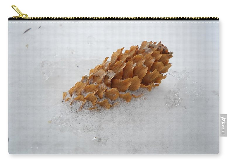 Pine Cone Carry-all Pouch featuring the photograph Chilly Pine Cone In Snow by Kent Lorentzen