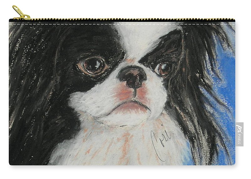 Japanese Chin Carry-all Pouch featuring the drawing Chin-sational by Cori Solomon